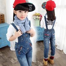 2016 automne enfants vêtements filles jeans bébé de causalité bleu denim bébé fille jeans pour grandes filles enfants jeans salopette longue pantalon