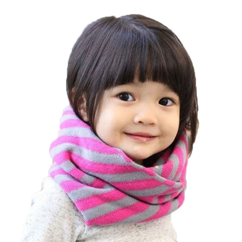 Unisex Ring scarf Knit Stripe Autumn Winter warm Scarves Child Boys Girls neckerchief Kids Accessories WJ8281