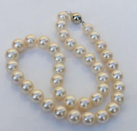 Free shipping Quality Fashion Picture>18 HUGE AAA 10 11MM ROUND SOUTH SEA WHITE PEARL NECKLACE