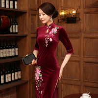 New Arrival Burgundy Chinese Women's Velour Qipao Long EmbroideryCheong sam Dress S M L XL XXL Free Shipping J808
