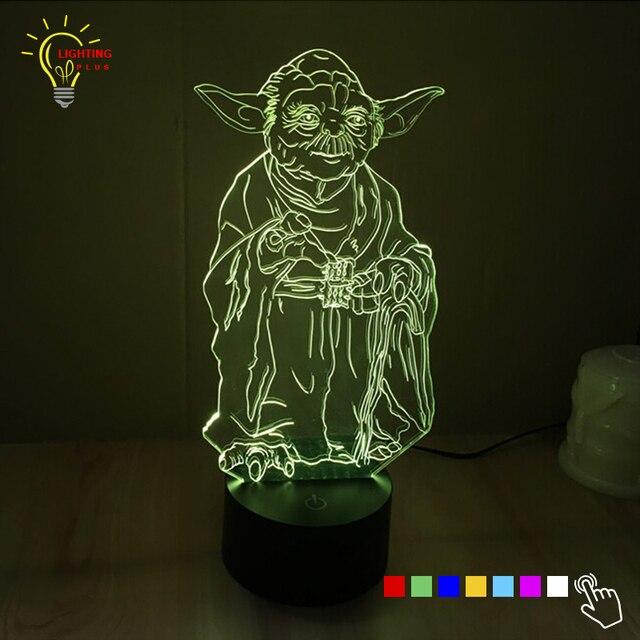Star Wars 3D Lamp Luminaria LED Night Verlichting Master Yoda Jedi ...