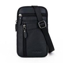 Marke Aus Echtem Leder Mini multifunktions Casual Bag männer Schulter Messenger Hüftgurt Tasche Handy Pack fall Abdeckung