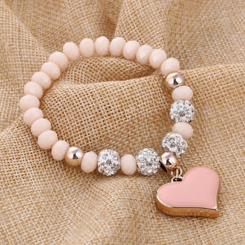 ZOSHI Romantic Vintage Bracelets For Women Heart Pendant Bracelets with crystal Shambhala Beads Fit Pan Bracelets Jewelry