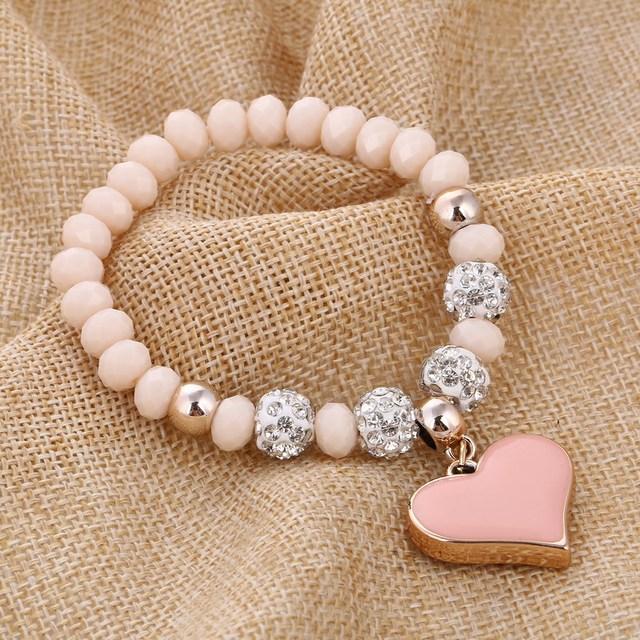 Romantic Vintage Bracelet with Heart Pendant