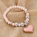 ZOSHI Romantic Vintage Bracelets Gold Plated Heart Pendant Bracelets with crystal Shambhala Beads Fit Pan Bracelets Jewelry