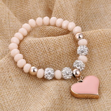 ZOSHI Romantic Vintage Bracelets For Women Heart Pendant Bracelets with crystal Shambhala Beads Fit Pan Bracelets Jewelry