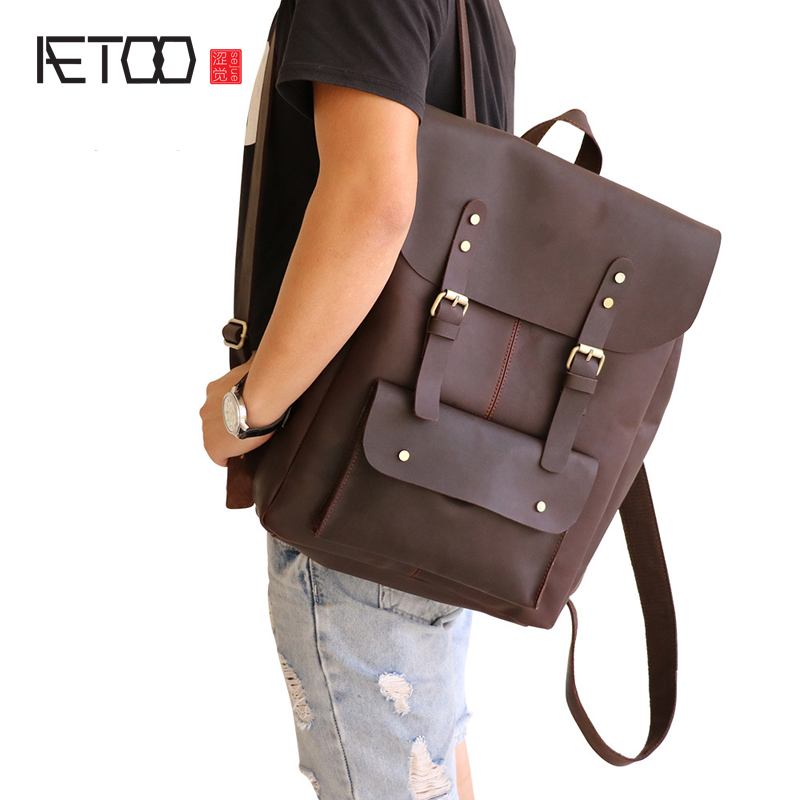 AETOO Crazy horse leather shoulder bag men bag wholesale men Europe and the United States trend leather backpack Guangzhou leath aetoo europe and the united states fashion new men s leather briefcase casual business mad horse leather handbags shoulder