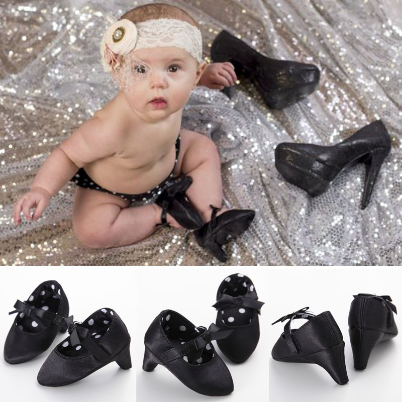 Hot Infant Toddler Crib Babe Newborn Baby Girls Princess Bow Mary Jane Ballet Dress Shoes High Heels Free Shipping