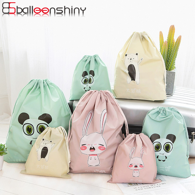 BalleenShiny PE 40*36cm Cartoon Animal Drawstring Storge Bags Cloth Shoe Makeup Neaten Pouch Waterproof Travel Outdoor Bags