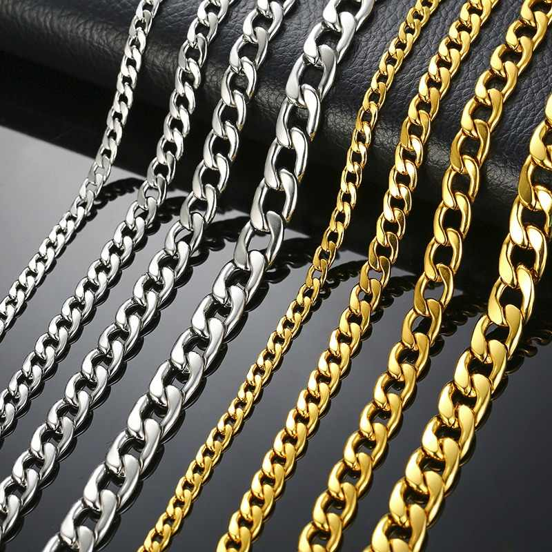 Men's Necklace Round Miami Cuban Link Chain Gold and Silver Tone Stainless Steel Punk Boy Male Colar Gifts 24""