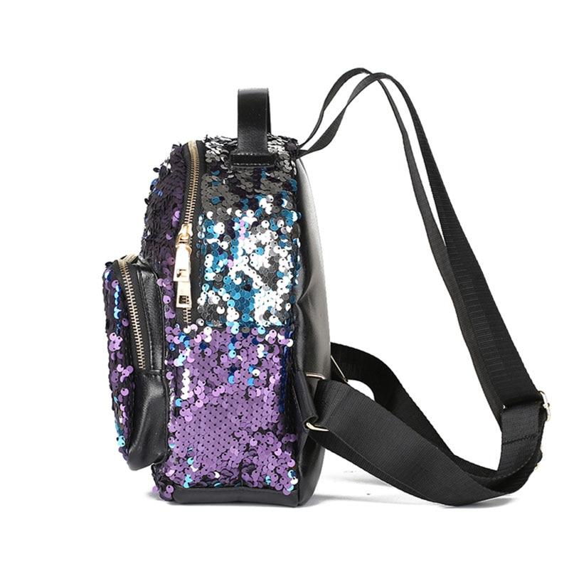 Фото 1 Мода небольшой блестки рюкзак женщины Серебряный блесток рюкзак 2018  мини девочек черный кожаные рюкзаки ... 4e61a2dabf50