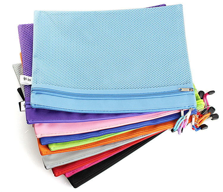 Pink Blue Green Fashion Zipper Document Holder Bag, A4 / 8.5x11 Paper File Envelope Bag,  Canvas Office Stationery Pouch