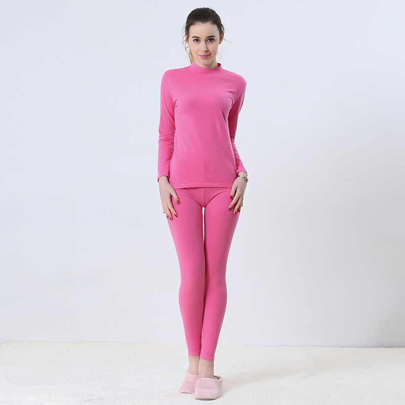 נשים של תחתונים תרמיים Slim צורת תחתונים ארוכים גובה אמצע תחתוני חולצות + מכנסיים גרביונים ארוך סט נשי סתיו בגדים