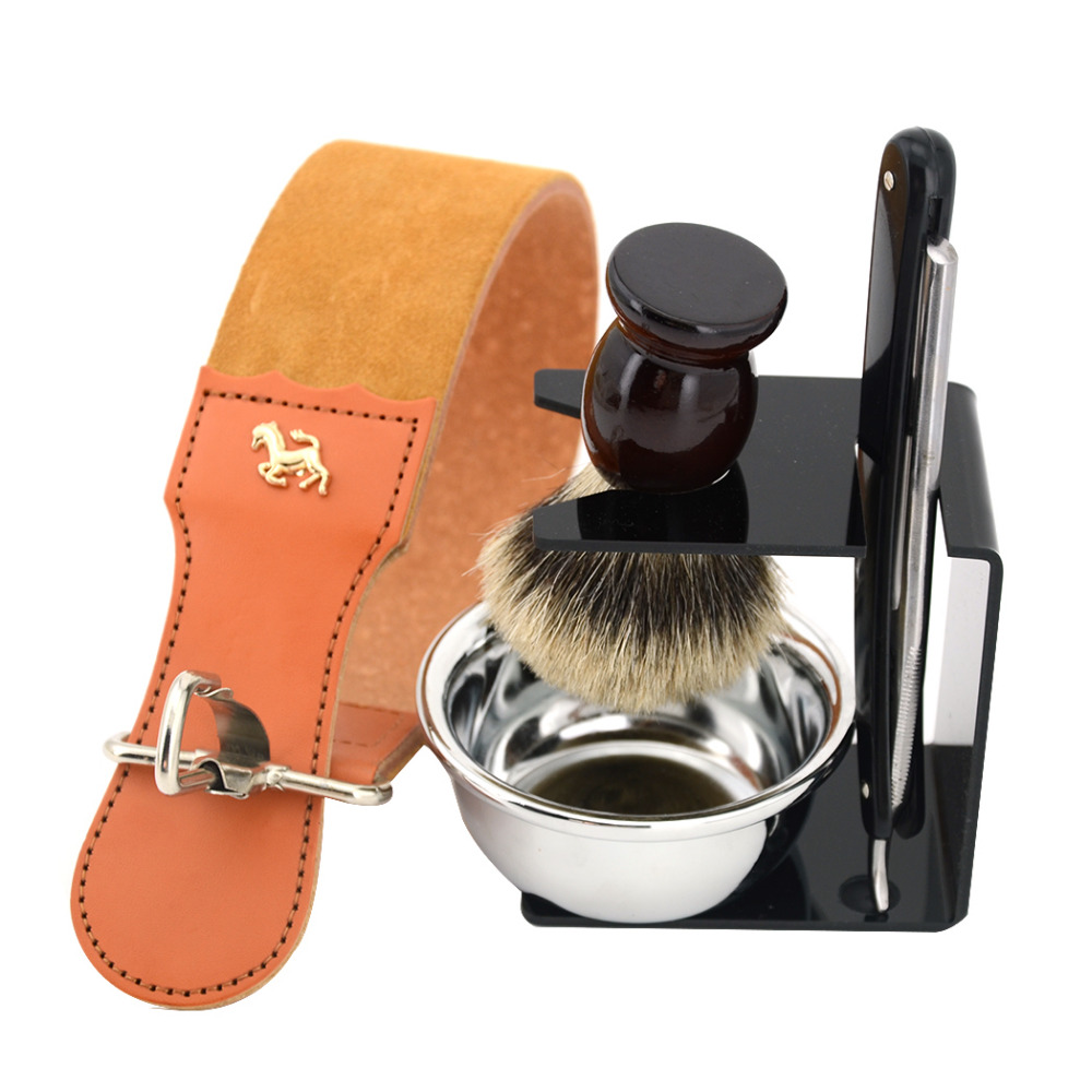 ZY 5pcs/set Shaving Razor Set Straight Razor +Leather Sharpening Strop +Badger Shaving Brush+Shave Bowl+Stand For Barber mens badger shaving brush stand razor holder and double head safety straight razor