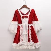 Princess Lolita Dress Mandarin Sleeve Pink/RedBowknot Lace One Piece Velvet Dresses