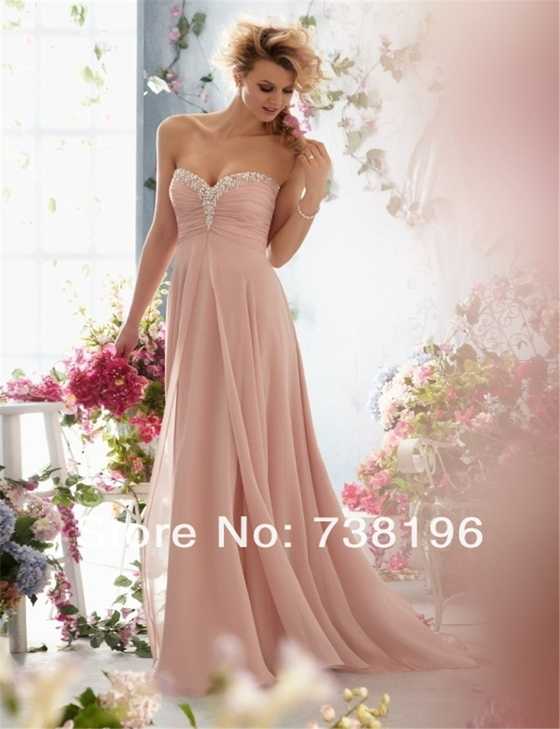 In Stock   Bridesmaid     Dress   Maid of Honer Chiffon wedding Guest   dress   sweetheart Crystals Beaded pink   Bridesmaid     Dresses   long