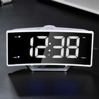Radio Projection Alarm Clock Large LED Mirror Display Electronic Digital Luminous Table Clocks USB Charging Function