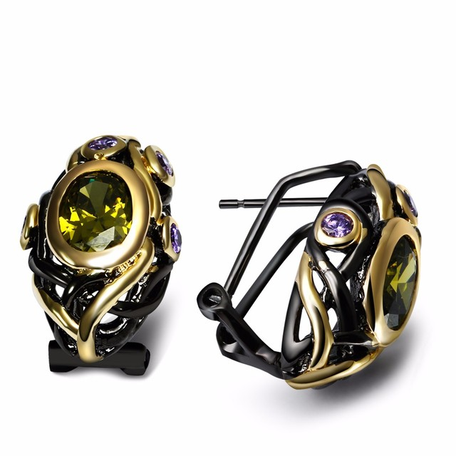 Nice Looking Beauty Women Stud Earrings Evening cocktail Vintage Black Gold Plated OIivine Cubic Zirconia Brass Metal Lead Free