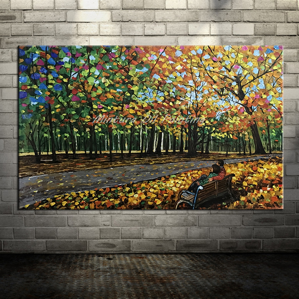 Большой расписанный вручную любовник дождь уличное дерево лампа пейзаж картина маслом на холсте настенные художественные настенные картины для гостиной домашний декор - Цвет: HY142204