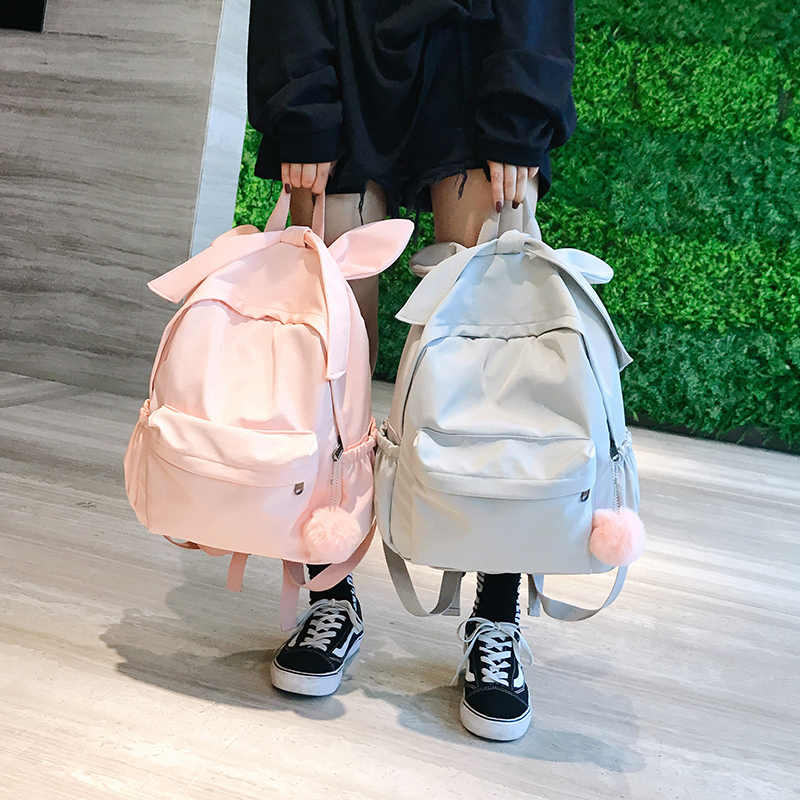 02092e0f9a8a ... Cute ear woman backpack Large capacity Waterproof nylon travel backpack  female harajuku schoolbag For Teenage Girls ...