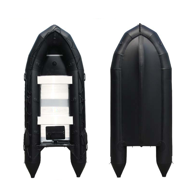 Fashion Style Black PVC Aluminum Inflatable Boat Rubber Boat Kayak Fishing Boat Hovercraft Fishing Boat Assault Boat