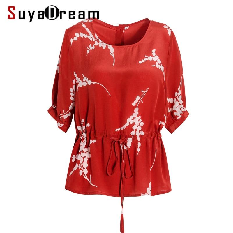 ผู้หญิงเสื้อ 100% ผ้าไหม Crepe สีแดงเสื้อแขนสั้นสำนักงานเลดี้ O คอเสื้อ 2019 ฤดูใบไม้ผลิฤดูร้อนเสื้อ-ใน เสื้อสตรีและเสื้อเชิ้ต จาก เสื้อผ้าสตรี บน   1