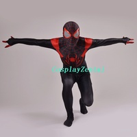 Ultimate Miles Morales Spiderman Costume 3D Printing Spandex Lycra Fullbody Spider Man Costume For Halloween Cosplay Party