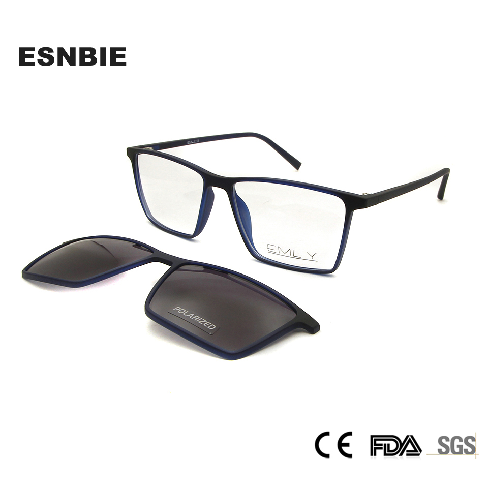 ESNBIE Ultralight TR90 Magnetic Eyeglasses Frame Women Spectacles Polarized Clip On Sunglasses For Men Square Oculos De Grau