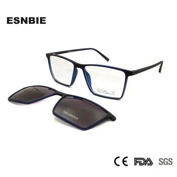 ESNBIE Ultralight TR90 Magnetic Eyeglasses Frame Women Spectacles Polarized Clip On Sunglasses For Men Square Oculos De Grau