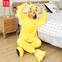 Women Pajamas Animal Stitch Unicorn Pajamas Panda Giraffe Totoro Pikachu Adult Pajama Set Winter Warm Flannel