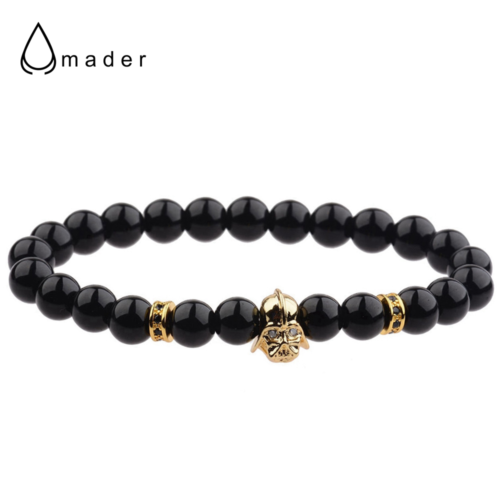 Amader 2017 Fashion Star Wars Men Bracelet Top Quailty Black Natural Stone Beads Macrame Charm Bracelet Jewelry Pulsera Hombres