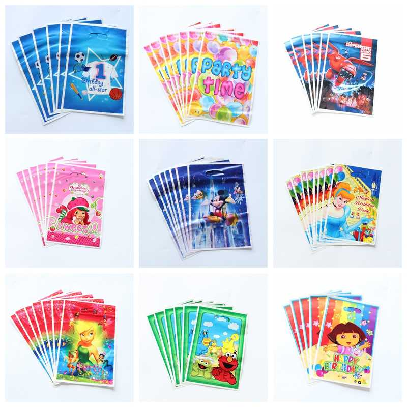 50pcs/lot Party Supplies Gift Bag loot Bag Tinkerbell Sesame Street Cartoon Theme Party Festival&event Birthday Decoration Favor