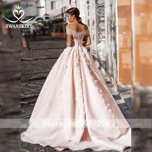 Image 2 - Swanskirt 3D Appliques A Line Wedding Dress 2020 Boho Boat Neck Tulle Court Train Bridal gown Plus size Vestido De Noiva N111