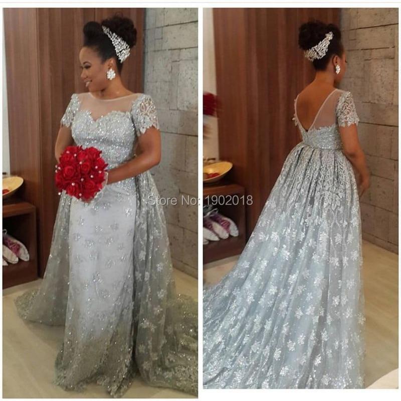 vestidos de novia 2016 couture silver lace wedding dress bride