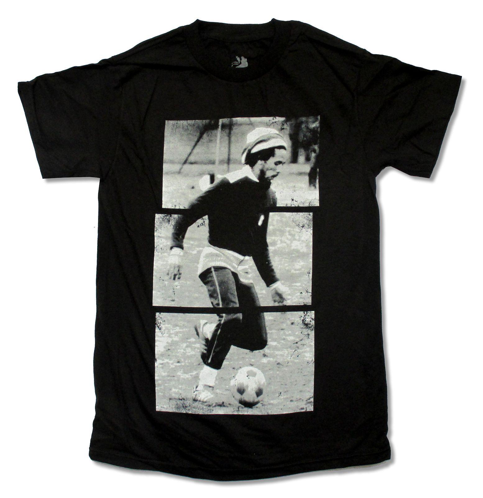 Bob Marley Soccer Stripes Image Black T Shirt Three Little