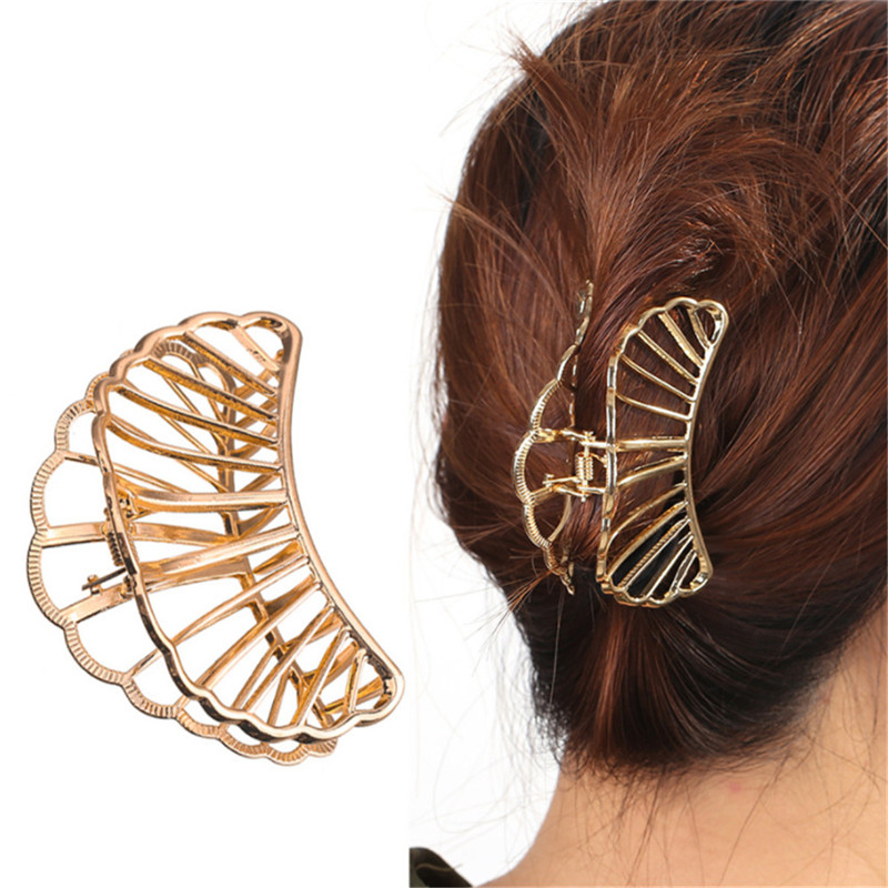 Fashion Geometric Square Moon Hair Claws Women Vintage Hair Jewelry Gold Metal Hair Crab Clip Wedding Hair Accessories Hairpin