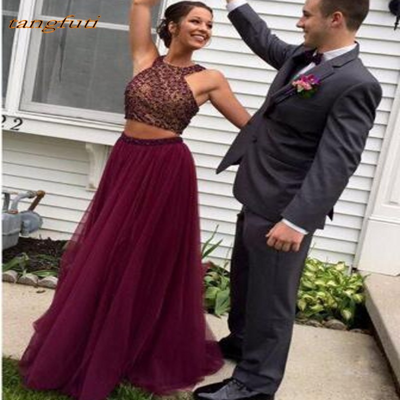 Long 2 Piece   Prom     Dresses   Off The Shoulder A Line Beaded Crystals Tulle Formal Gowns Evening Party 2019 Robe De Soiree   Prom   Wear