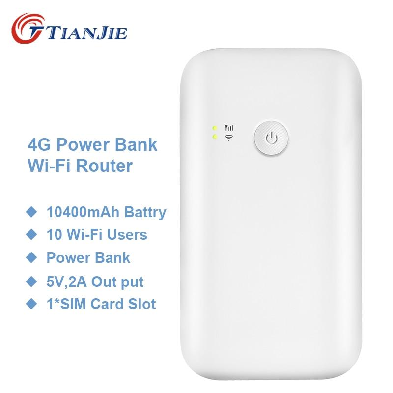 TIANJIE Wifi Hotspot Router Sim-Card-Slot 10400mah-Battery-Power-Bank Unlocked 3g 4g