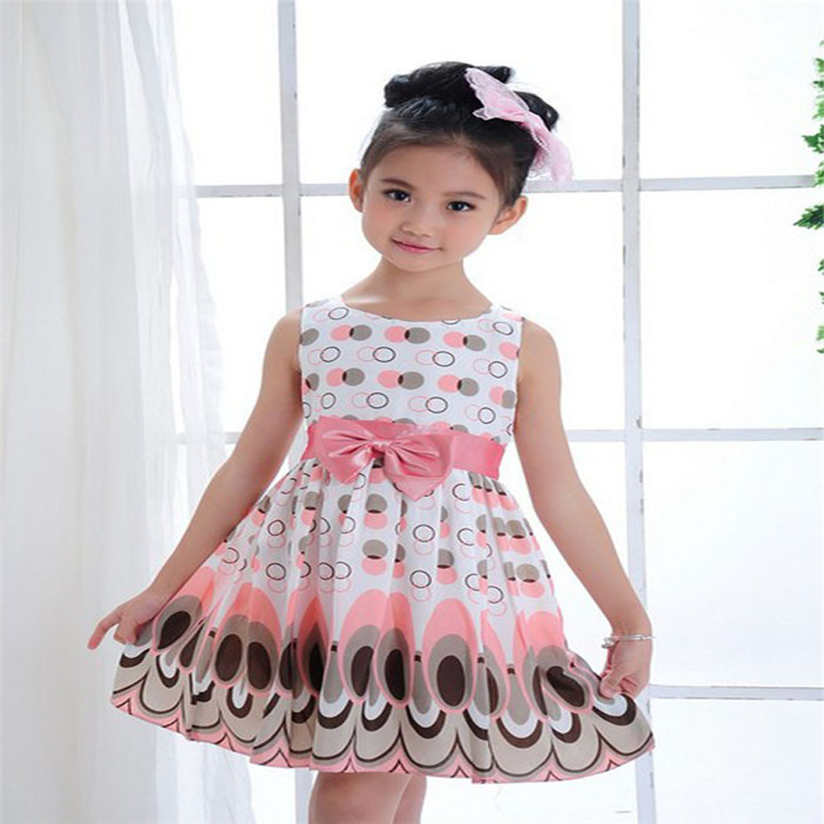 Girls dress summer dress NewKids Girls Bow Belt Sleeveless Bubble Peacock Dress Party Clothing princess dress high qualityl AP19 ...