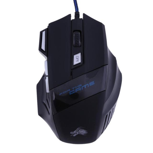 Wired Gaming Mouse Professional 7 Buttons Adjustable 5500DPI USB Cable LED Optical Gamer Mouse for Computer Laptop PC Mice Black 4