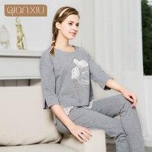 Qianxiu пижамы новый стиль для женщин 95% хлопок с цветком и кружева