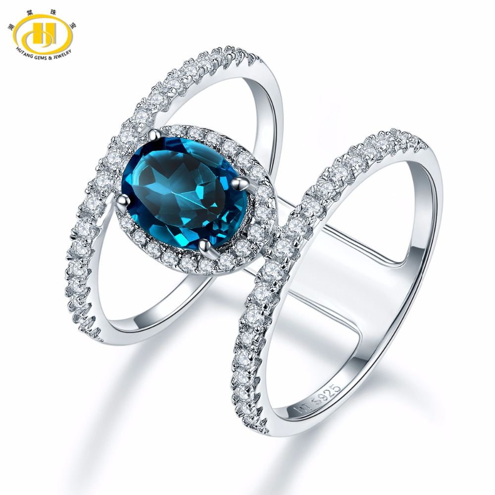 Hutang 8x6mm London Blue Topaz Rings 925 Sterling Silver Ring Natural Gemstone Fine Wedding Elegant Jewelry