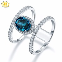 Hutang Stone Jewelry Solid 925 Sterling Silver 1.42 ct Natural Gemstone London Blue Topaz Wedding Ring Fine Jewelry For Women