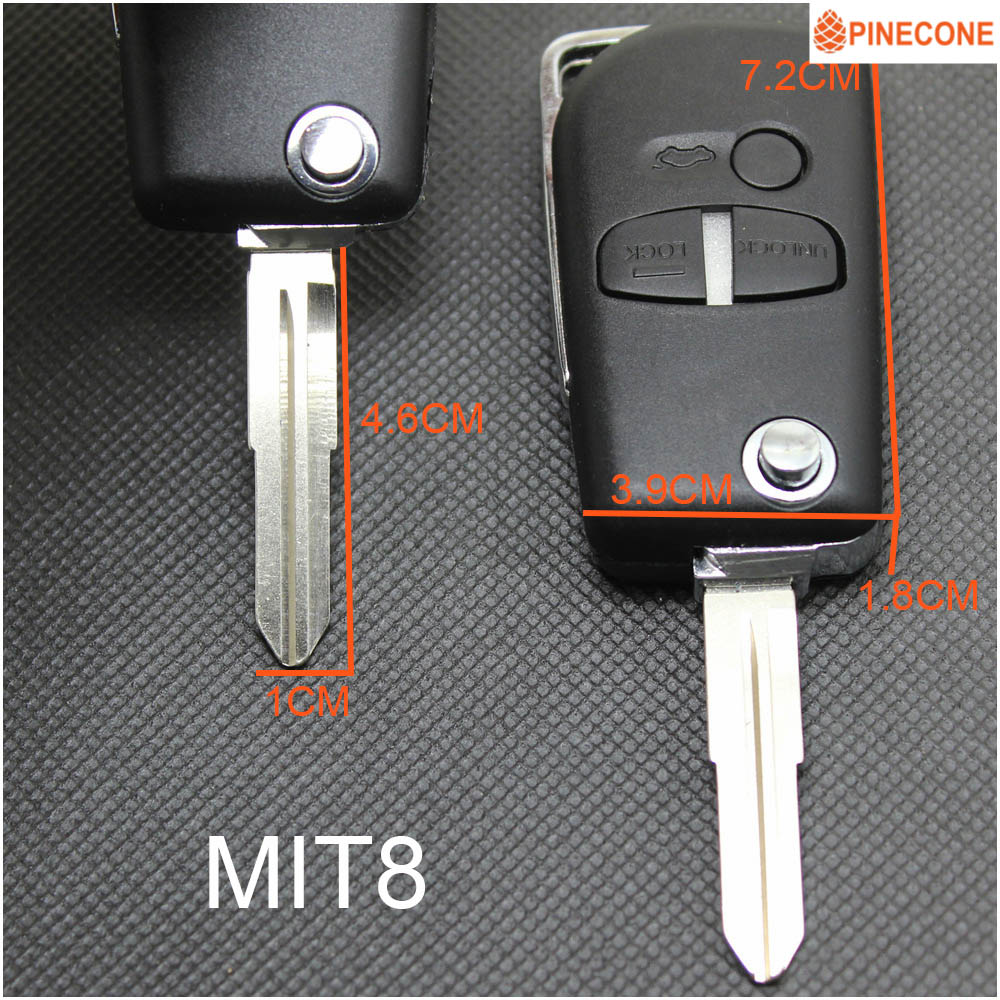PINECONE Key Shell For MITSUBISHI PAJERO OUTLANDER ASX GRANDIS LANCER Car MIT8 MIT11 Blade 2 3 Button Easy Install Key Case Fob in Car Key from Automobiles Motorcycles