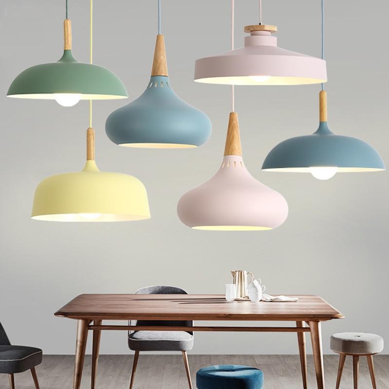 Image 2 - LED Hanglamp Vintage Loft Pendant Lights/Pendant Lamps Aluminum Suspension Luminaire Wood Hanging Lightings Kitchen Lustre Lampe-in Pendant Lights from Lights & Lighting