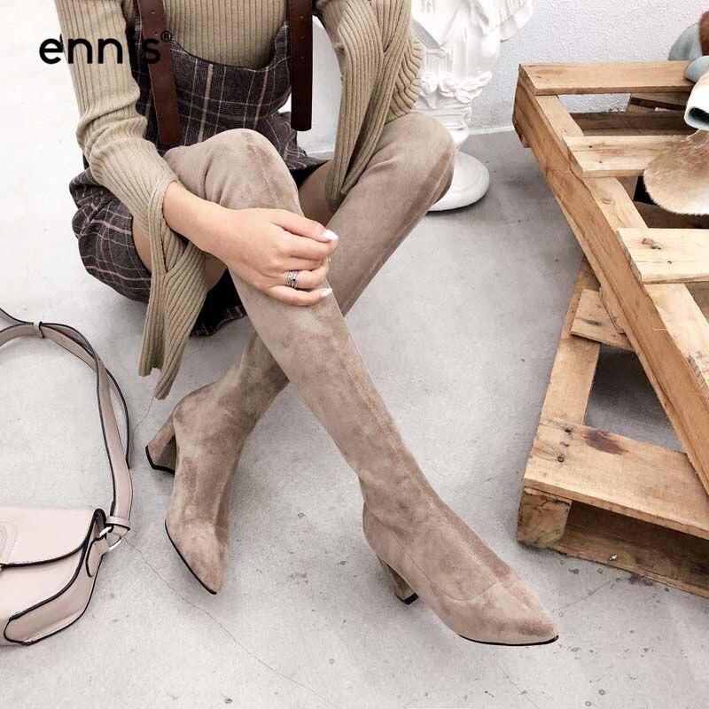 اينيس 2019 تمتد على مدى الركبة الأحذية وأشار اصبع القدم النساء سميكة أحذية عالية الكعب الخريف الشتاء الفخذ أحذية فلوك أحذية نسائية L859-في أحذية فوق الركبة من أحذية على  مجموعة 1