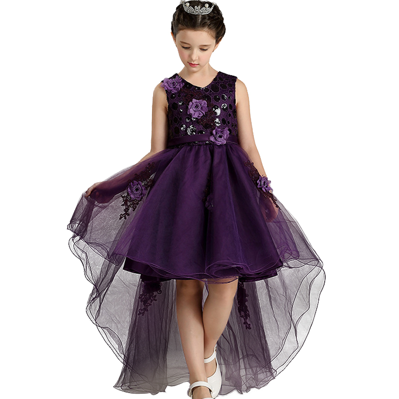 Retail 4 colour 2017 New Arrival Summer Children Dress Wedding Dress After Short Before Mopping the floor Long Lace Cute Dress earth 2 society vol 4 life after death