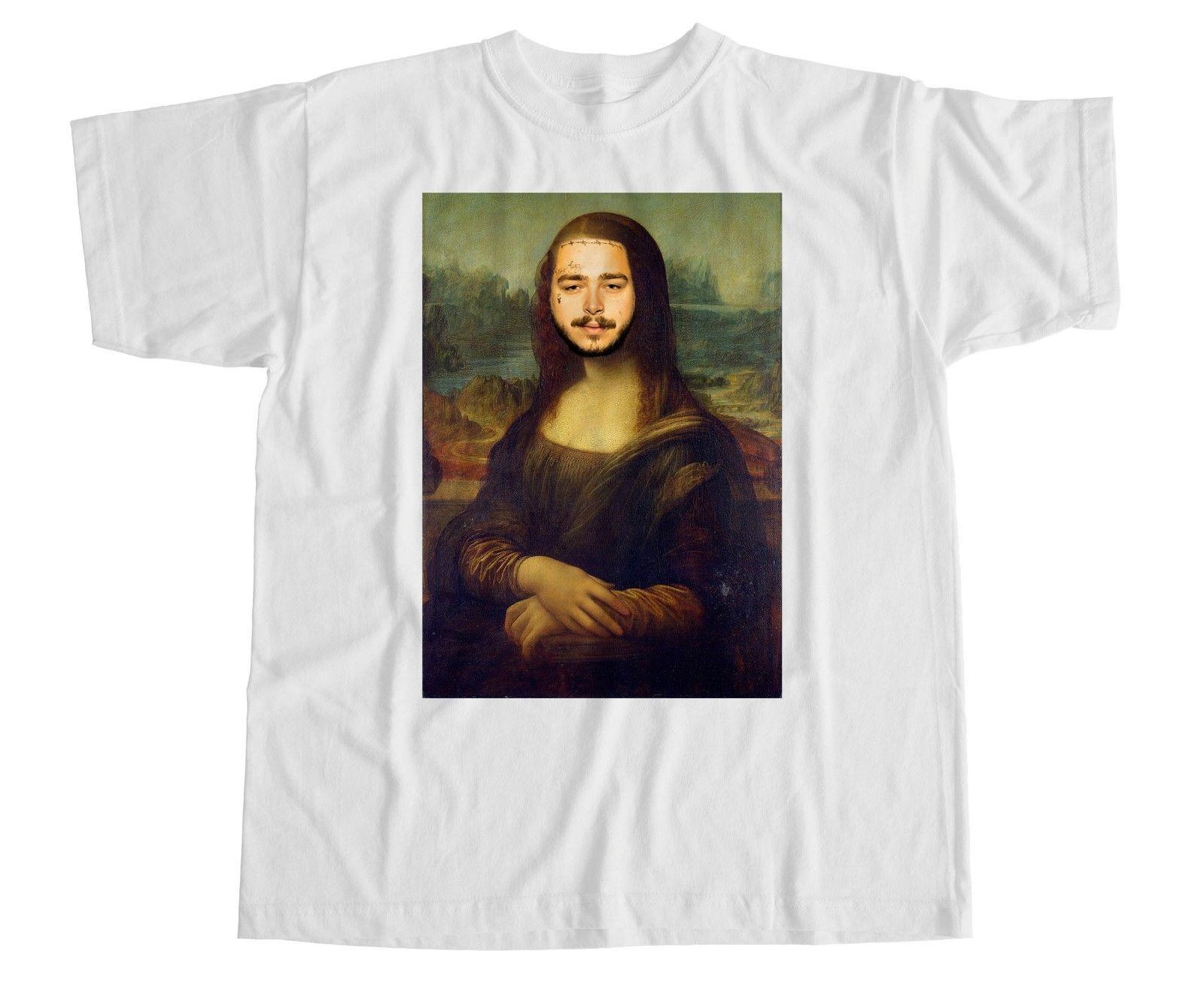 Post Malone Mona Lisa Paródia Camiseta Stoney Branco Iverson Hip Hop tshirt T-shirt Engraçado 100% Algodão Rodada Estilo Personalizado camisa de t camisa