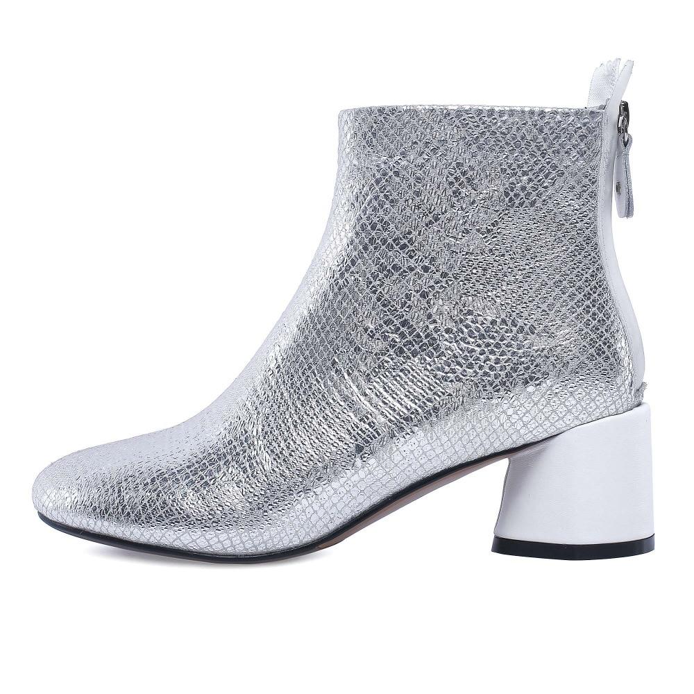 D'hiver Doux 2018 Arrivée Vache Solide Style L1 Dame Chaussures Nouvelle Bout Zipper Cuir Cheville Bureau En Rond Bottes Krazing Étrange Noir Pot argent hQrtdCsx