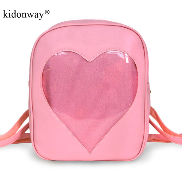 Kidonway Ita Bag Candy Pu Leather Backpacks For Womentranspa Love Heart Shape School Bags Backpack